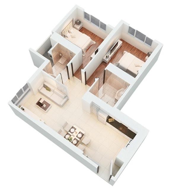 Mặt bằng căn hộ The Park Residence Apricot 73 m2