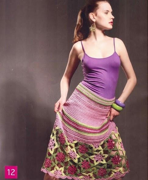Falda Flores a Crochet
