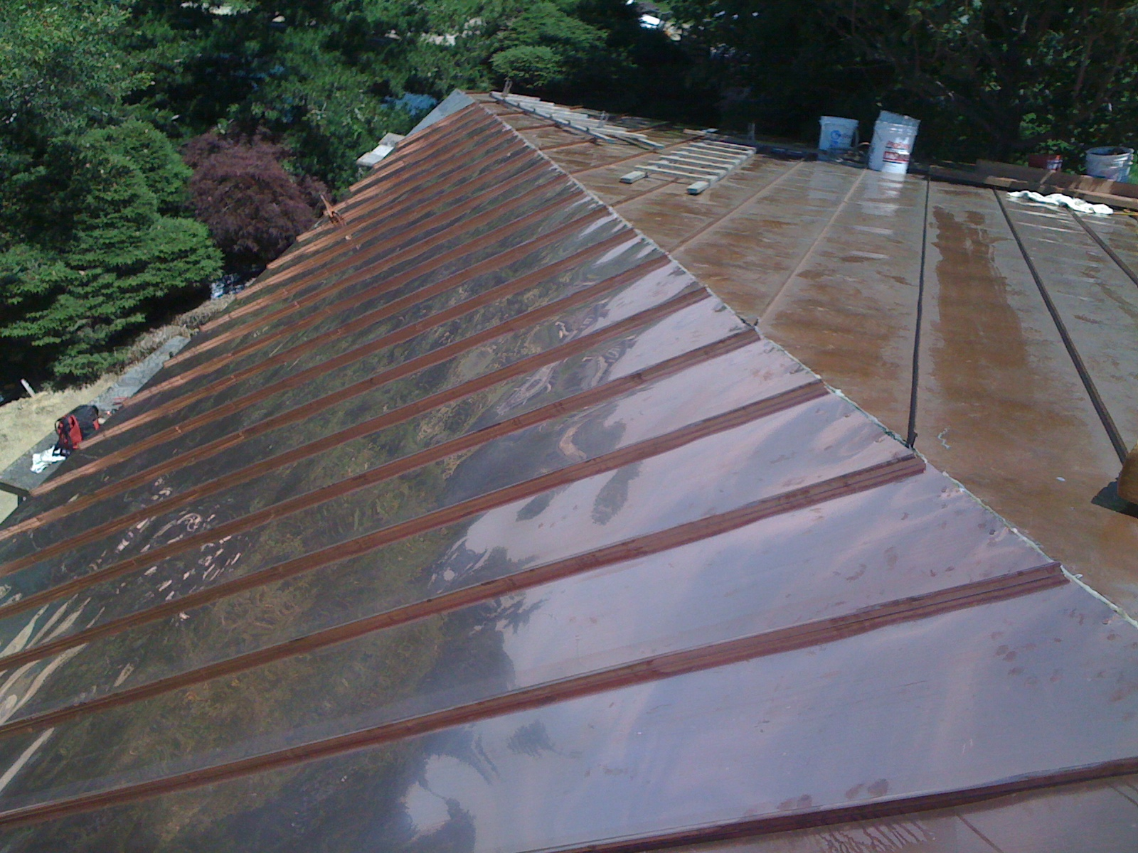 Architectural sheet metal work copper roof standing seam for Standing seam copper