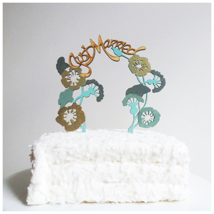 Folksy Hand Painted Wedding Cake Topper