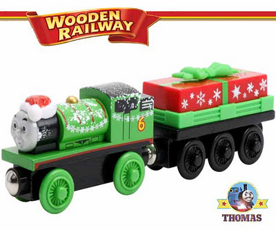 Train Thomas & Friends Wooden Railway Holiday Percy and Present Car Toy Christmas Special Edition