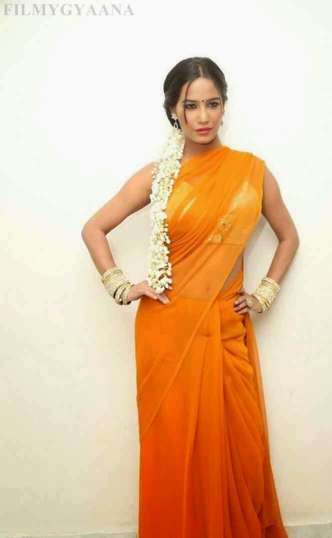 Poonam Pandey Latest Yellow Saree Pics