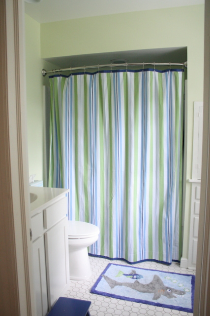 Shower Curtain, Rug And Stool From Pottery Barn Kids.