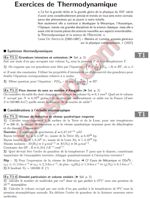 Exercices de Thermodynamique s1 SMPC MIP