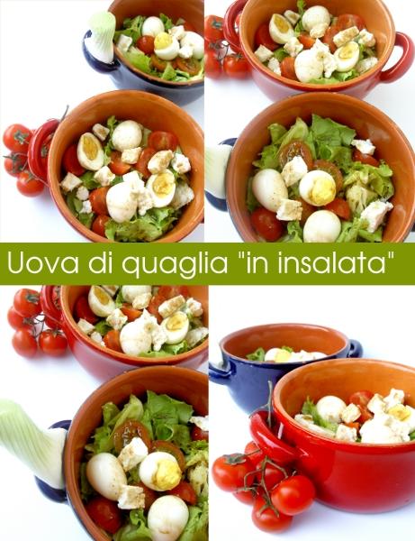 insalata con uova di quaglia, feta e pomodorini