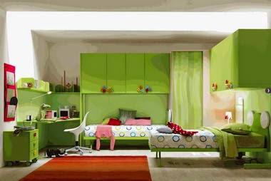 desain interior kamar tidur anak nuansa hijau kumpulan