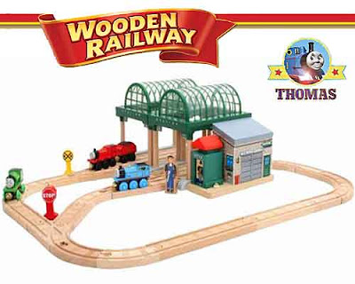 Knapford Station real wood Thomas the train set layout Percy and James the tank engine wooden track