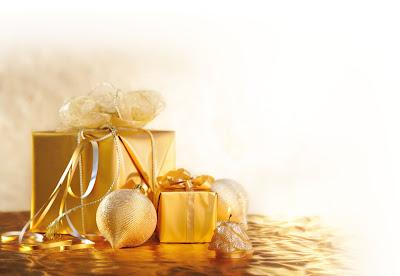 Adornos navideños para Navidad en color dorado