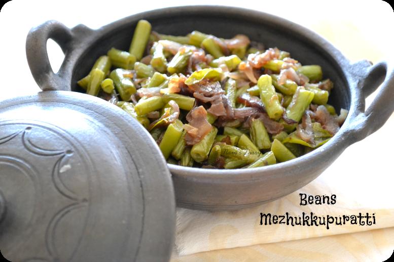 Beans Mezhukku-Perattiyathu {stir-fry}