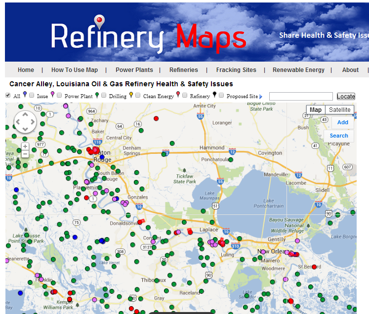 Refinery Maps Cancer Alley Louisiana Map - Loisiana map