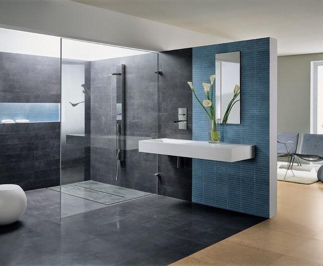 Mueble Baño Azul Turquesa:Cuartos gris con azul : Un baño serio y moderno donde el color gris
