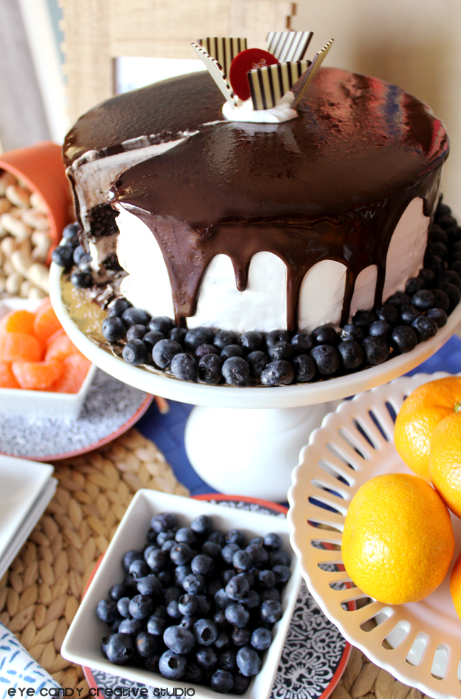 sliced ice cream cake, Cold Stone, oranges, blueberries, dessert ideas