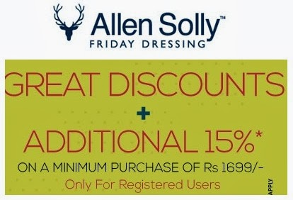 Great Discount Offer: Enjoy Min Flat 30% + Extral 15% Off on Allen Solly Apparels at Trendin