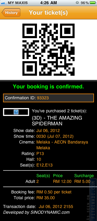 tiket wayang qr code the amazing spiderman gsc