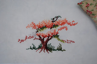 Blossoming Spring, cross stitch, work in progress, WIP, Sheila Hudson, blossom tree