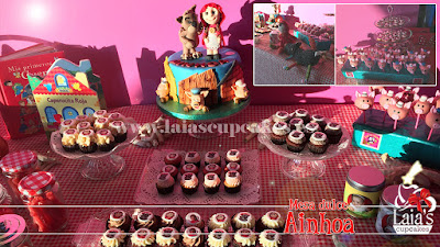 Mesa dulce tarta de fondant personalizada cupcakes cakepops cookies Laia's Cupcakes Puerto Sagunto Lobo cerditos caperucita