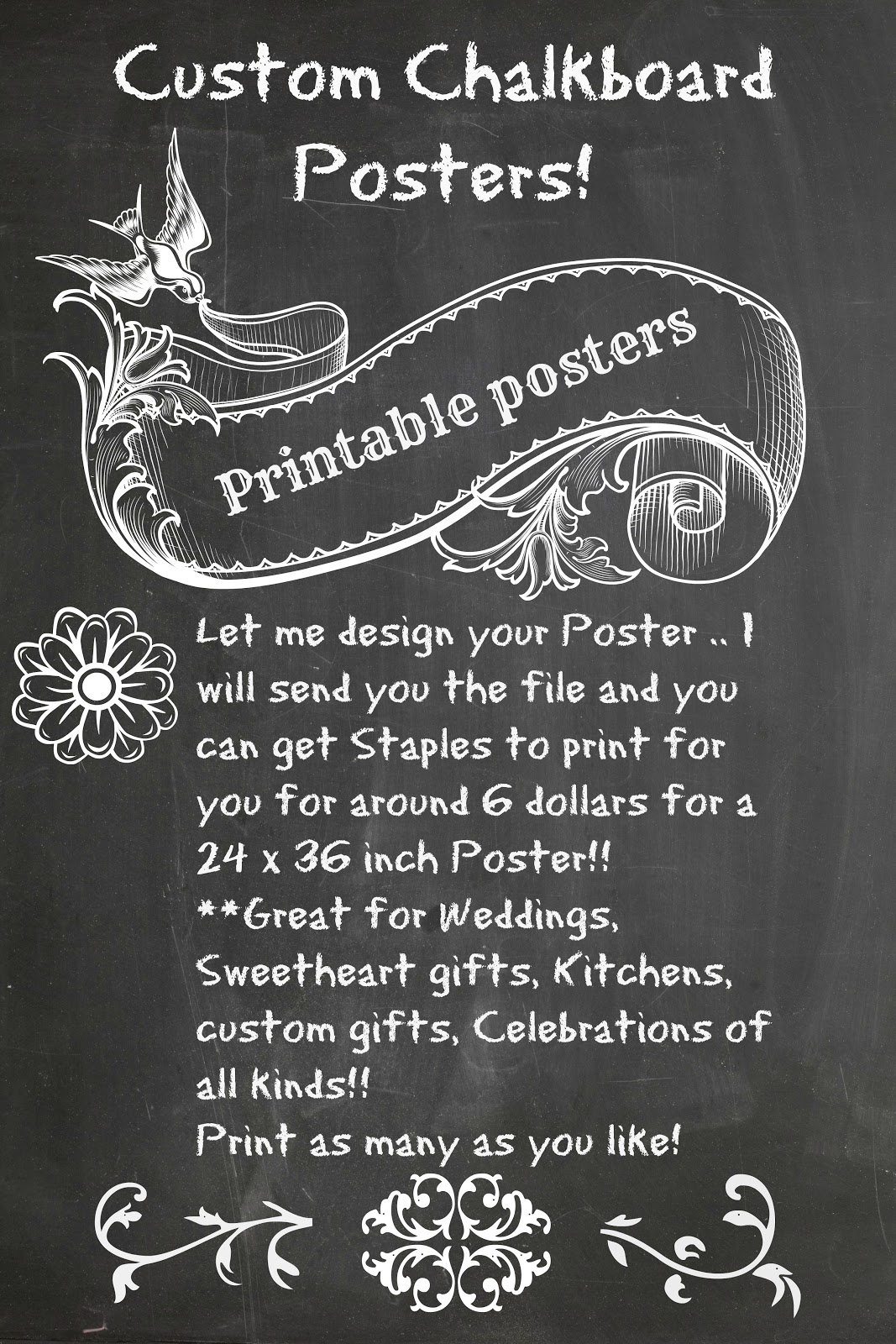 Poster design staples - Custom Created Chalkboard Posters Just For You Great Large Format Chalkboard Posters Just Send Me Your Info And I Will Design A Poster Especially For You