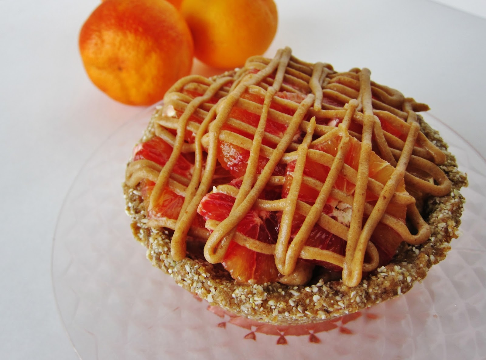 Mini Raw Blood Orange Caramel Pie with Orange Lavender Ice ...