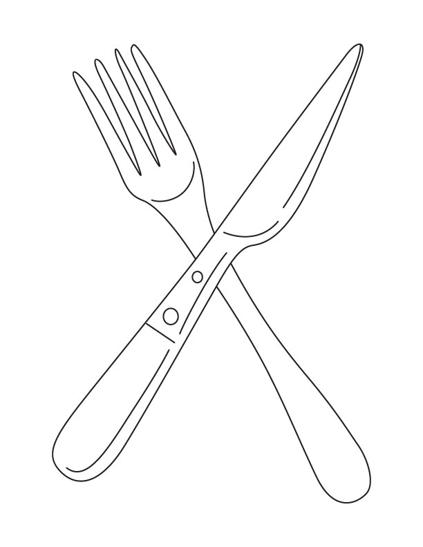 Place Set Fork Spoon Knife Coloring Pages