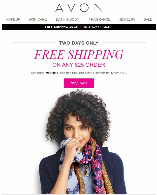 Avon Free Shipping on $25 Orders- March 2015