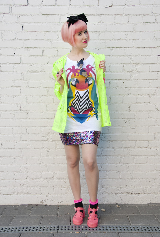 Tatty Devine, Dazzle & Jolt, Tropical green, Topshop Rain Coat