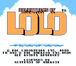 Adventures of Lolo Title Screen