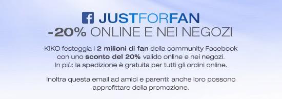 KIKO - Promozione 2 Million Fans - Sconto 20%