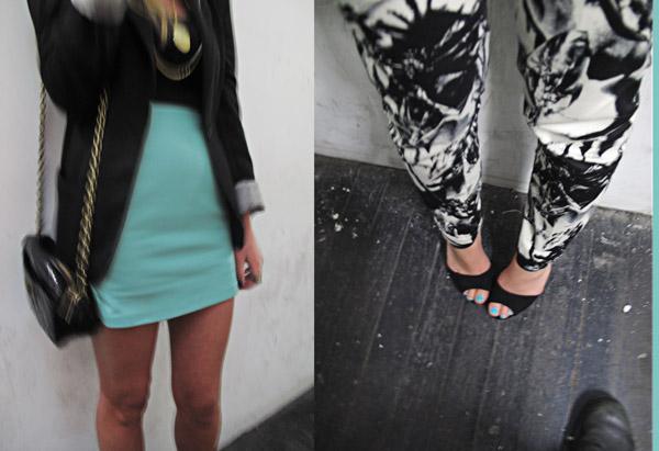 Street Fashion, Turquoise skirt, Turquoise toenails