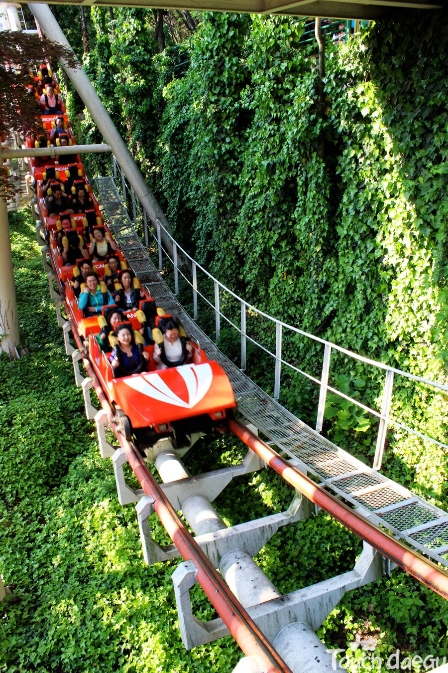 People are riding a rolloer coaster in E-world