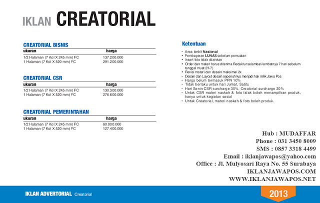 Jawa Pos Iklan Creatorial Bisnis, CSR, Pemerintahan 2013