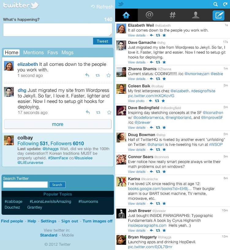 Starý vs. nový mobilní Twitter pro obyčejné telefony
