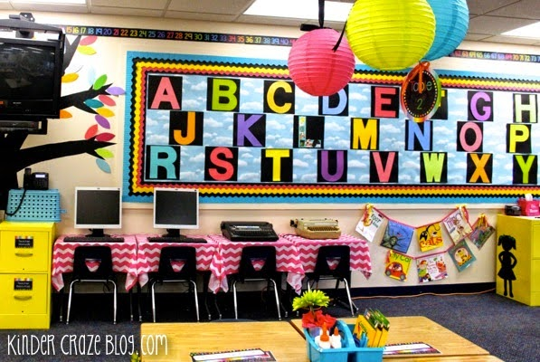 Alphabet Wall that doubles as a Word Wall. Cute!