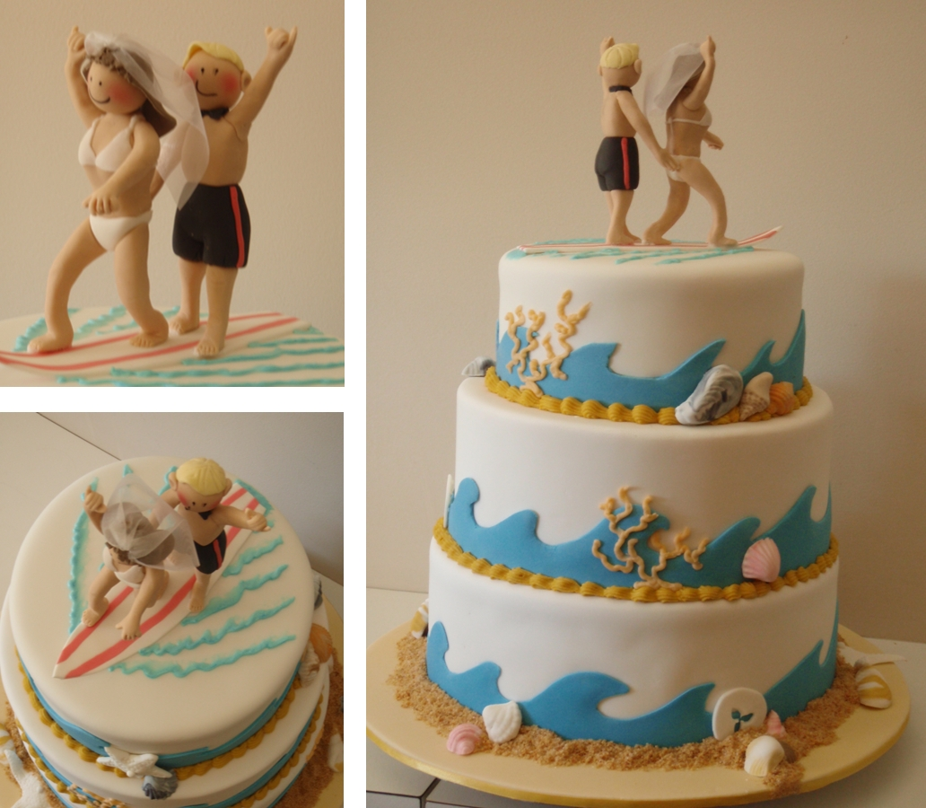 The Little Oak Tree Surfing Couple Wedding Cake Beach Theme