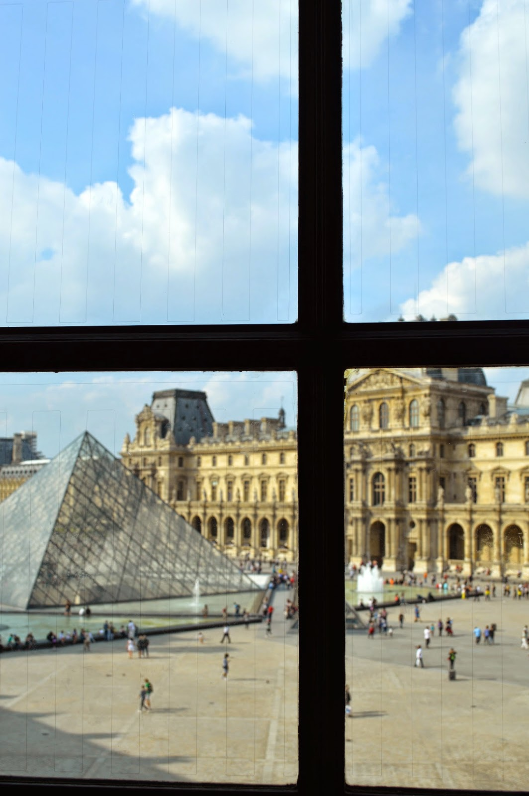 View from window inside the Louvre