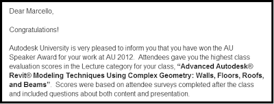 Top Speaker Award for a Lecture Class at AU 2012