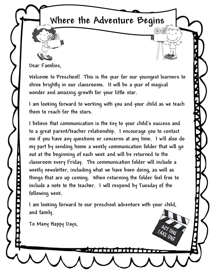 Learning and Teaching With Preschoolers: Welcome Parents Letter