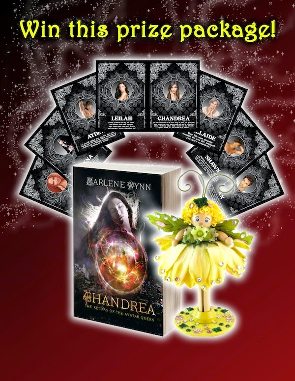 Chandrea Giveaway: Win this prize package, a print copy of Chandrea: The Return of the Avatar Queen, a handmade fairy, and a set of character trading cards