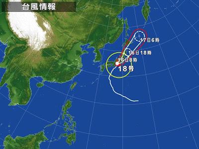 台風18号がおもっきし縦断