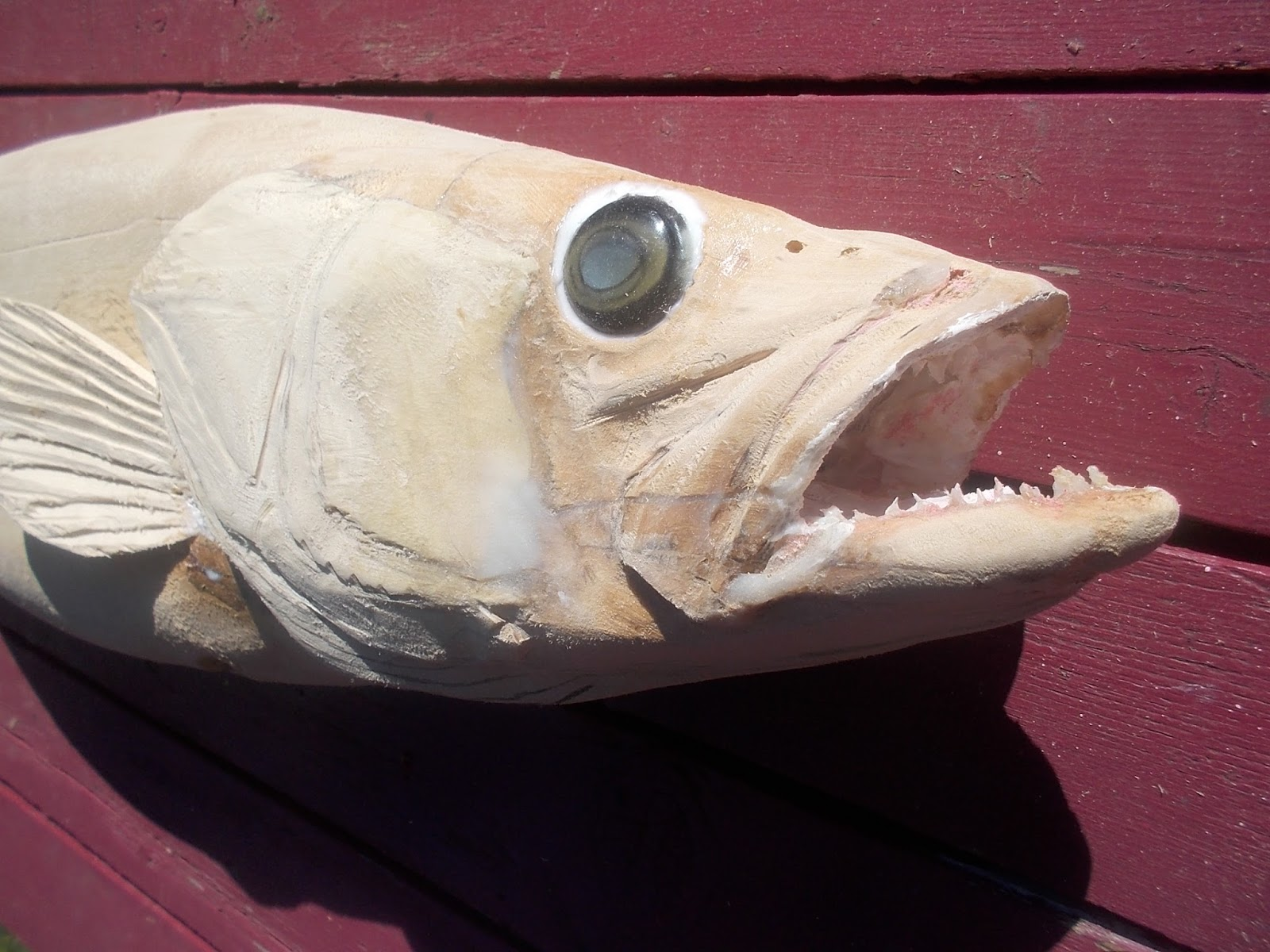 Charles weiss art wood carving giant walleye yellow