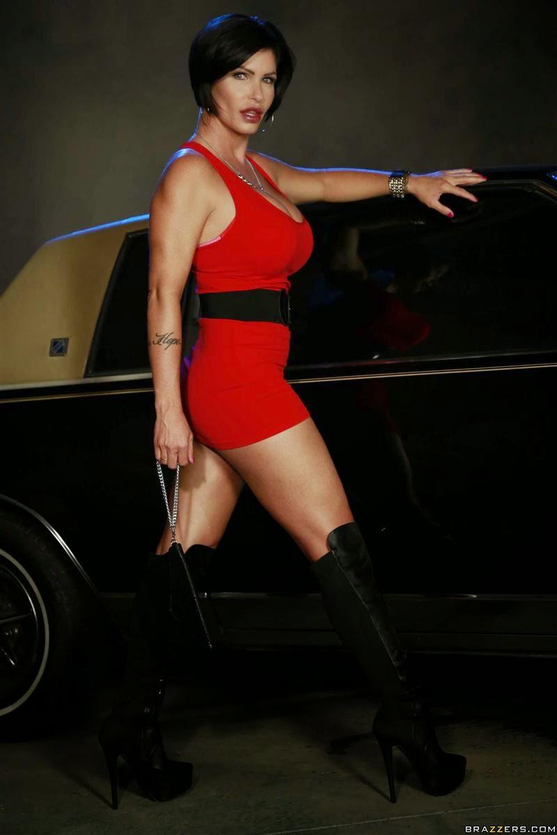 Shay Fox gets drilled on a cop car in a tight red dress | Shay Fox Fan Club