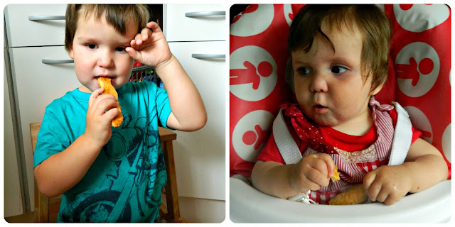 Bud and Little Miss enjoying their cheese straws