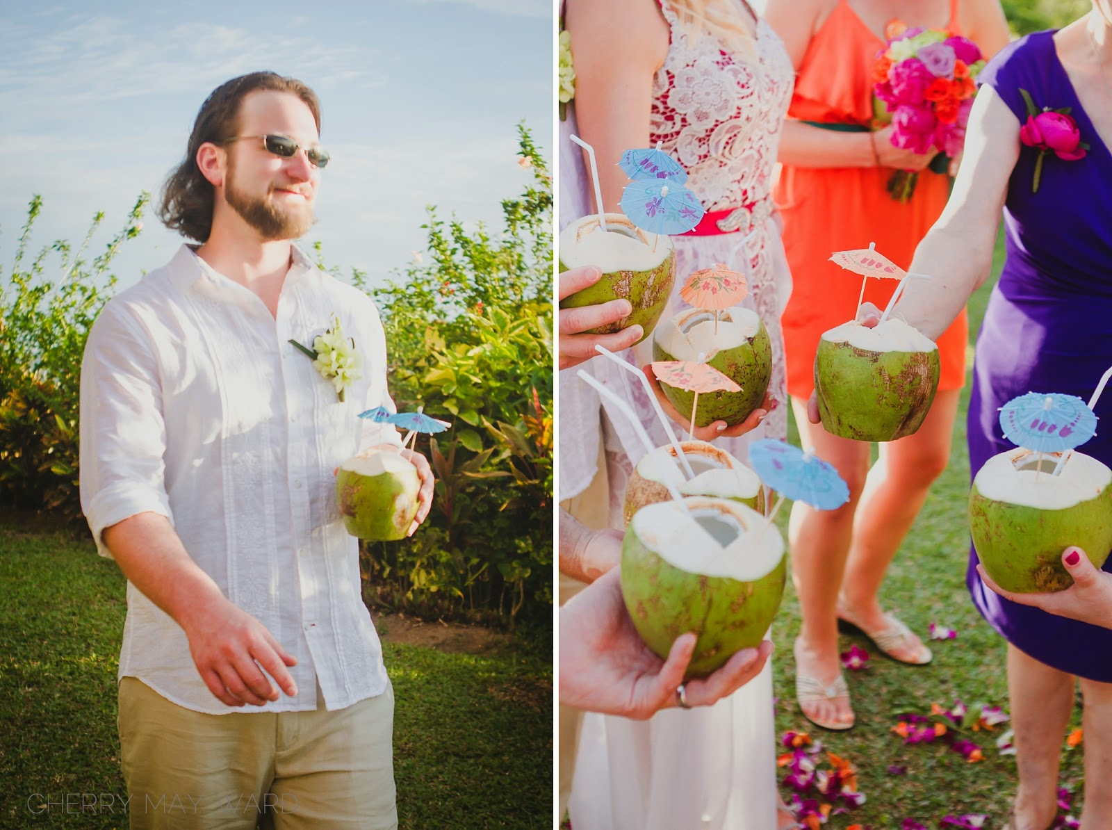 Piña coladas in coconuts, Thai coconuts, cocktails in coconuts, colourful wedding party, colourful destination wedding