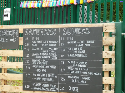 Blackboard timetable at Folksy Summer School