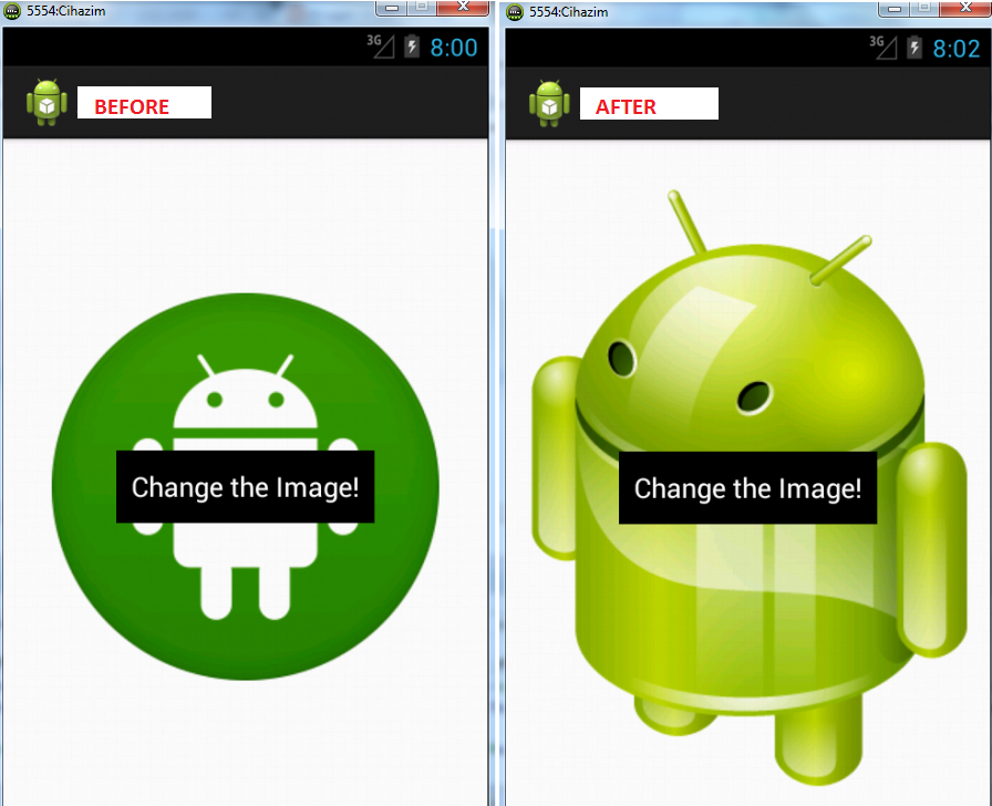 ANDROID Frame Layout - ImageView Change Example