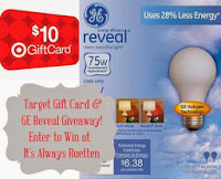 Enter to #win a $10 Target gift card and 4 Pack of GE reveal light bulbs from It's Always Ruetten!
