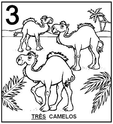 Atividades com Numerais - Camelos para colorir