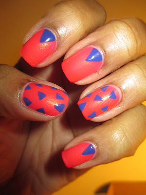 Love & Beauty, Melon, Cobalt, coral, blue, triangle, nails, nail art, nail design, mani