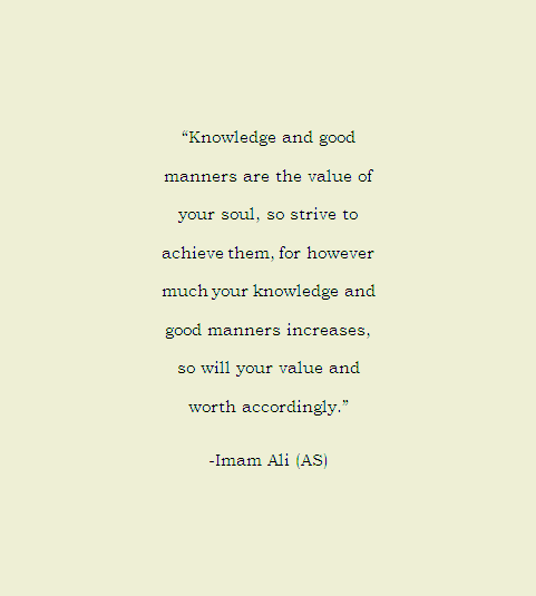Knowledge and good manners are the value of your soul, so strive to achieve them, for however much your knowledge and good manners increases, so will your value and worth accordingly.