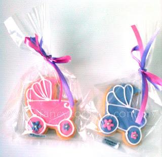 fancy cookies aqiqah stroller pink purple