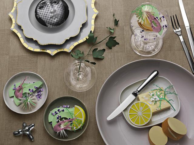 Fideli Sundqvist, Sweden ,suecia ,papel,paper,fold,plegar,food,comida,limon,lemon,gambas,mesa,platos,Olivia Jeczmyk